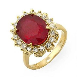 5.67 Ct Natural Ruby and Diamond Ring14k Gold Bands Jewelry