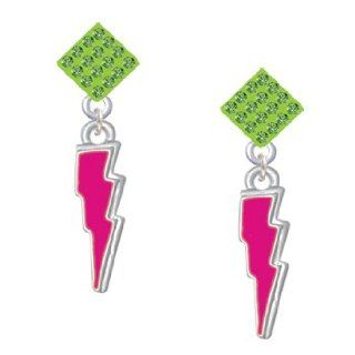 Hot Pink Lightning Bolt Light Green Crystal Diamond Shaped Lulu Post Earrings Jewelry