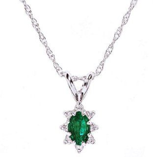 14k White Gold Natural Emerald & Diamond Necklace Pendant Ct.tw 0.30 Jewelry