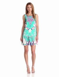 Twelfth Street by Cynthia Vincent Women's Dropped Waist Scoop Back Dress, Summer Leaf, Petite