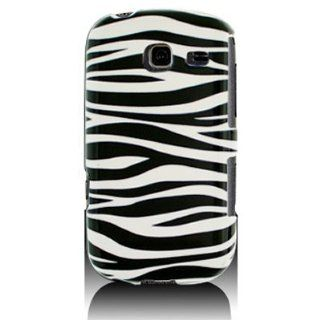 Hard Snap on Shield With BLACK WHITE ZEBRA Design Faceplate Cover Sleeve Case for SAMSUNG R380 FREEFORM 3 / COMMENT With PRY Tool Removal Case [WCG244] Cell Phones & Accessories