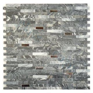 Mosaic Tile Backsplash Interlocking Polished Stainless Steel and Grey Stone Tiles Random Bricks Grey Metal 10PCS MBC105   Marble Tiles
