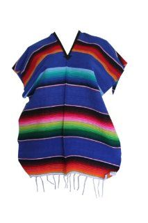 Youth Child Mexican Serape Poncho Pancho Costume (Blue)   Table Runners