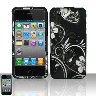 Apple Iphone 4, 4s Phone Protector Hard Cover Case Black White Flower Butterfly Design (AT&T, Verizon, Sprint) Cell Phones & Accessories