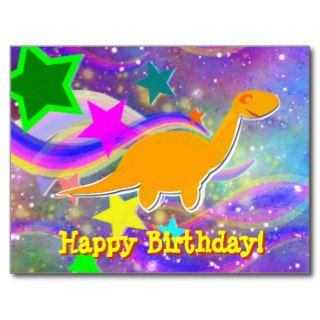 Dinosaur Stars & Swirls Happy Birthday Postcard