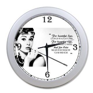 Beautiful Eyes Audrey Hepburn Quote Vintage Style Silver Wall Clock 10 Inch, Personalized Wall Clocks, Large Numbers