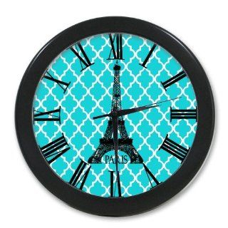 French Eiffel Tower Paris Aqua Quatrefoil Pattern Black Wall Clock 10 Inch, Personalized Wall Clocks, Large Numbers   Eiffel Tower Clock For Kids