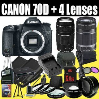 Canon EOS 70D 20.2 MP Dual Pixel CMOS Digital SLR Camera + EF 75 300mm f/4 5.6 III & EF S 55 250mm f/4.0 5.6 IS Telephoto Zoom Lens + Two LP E6 Replacement Lithium Ion Battery & Charger Kit + 32GB SDHC Class 10 Memory Card & Wallet + 58mm Wide
