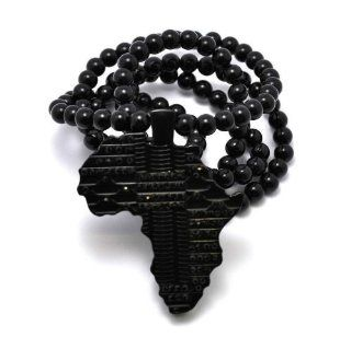 Black Homica Iced Out Africa Pendant with a 36 Inch Beaded Chain Necklace Good Quality Jewelry