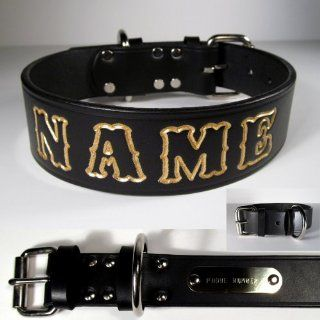 Personalized 1 � inch wide Black English Bridle Leather Dog Collar. Your Pet's Name is embossed into the leather at no additional charge. Lettering can be outlined in your choice of 17 different colors at no additional charge. This Collar includes a co