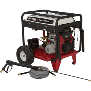 NorthStar Super High Flow Gas Cold Water Pressure Washer — 6.0 GPM, 3000 PSI, Electric Start, Belt Drive, Model#1572082  Gas Cold Water Pressure Washers