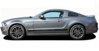 THUNDER ROCKER 1  2013 2014 Ford Mustang Lower Rocker Panel Screen Print Design Vinyl Graphic Decal Stripes (Fits All Models) (Color Gloss Black on Clear Base) Automotive