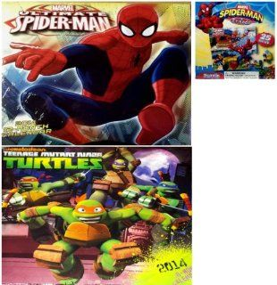 Marvel 2014 Ultimate Spider man 16 month Calendar+ 2014 Nickelodeon Teenage Mutant Ninja Turtles 16 Month Wall Calendar+ Marvel Spider man & Friends 25 Piece Puzzle Toys & Games