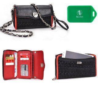 HTC Butterfly*SplaSh series* Cross Body wallet w/ exterior phone pocket in red PLUS Bonus Neviss Luggage Tag
