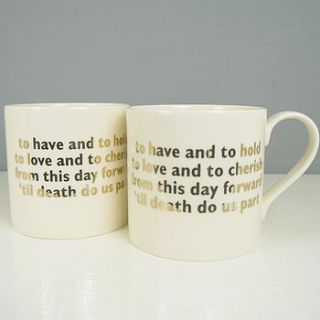pair of wedding vows china mugs by begolden