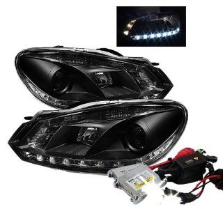 High Performance Xenon HID Volkswagen Golf / GTI ( Non HID ) DRL Projector Headlights with Premium Ballast   Black with 10000K Deep Blue HID Automotive