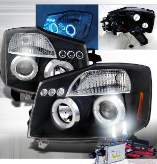 High Performance Xenon HID Nissan Titan Projector Headlights with Premium Ballast (Black Housing w/ Clear Lens & 6000K HID Lighting Output) Automotive