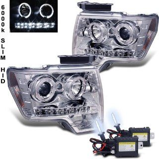 6000k Slim Xenon HID Kit + 09 11 Ford F150 Halo LED Projector Head Lights Lamps Automotive