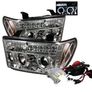 High Performance Xenon HID Toyota Tundra / Toyota Sequoia Halo LED ( Replaceable LEDs ) Projector Headlights with Premium Ballast   Chrome with 10000K Deep Blue HID Automotive