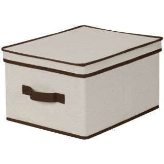 Household Essentials Large Storage Box, Natural Canvas with Brown Trim   Lidded Home Storage Bins
