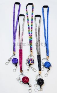 Retractable Colorful Rhinestone Lanyards with Breakaway Feature, ID Badge Holder & Key Chain (MIX PACK OF 5 COLORFUL RETRACTABLE LANYARD) Clothing