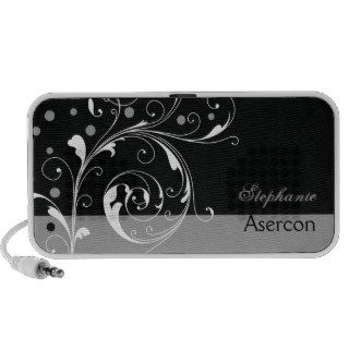 Elegant floral black, grey portable notebook speakers