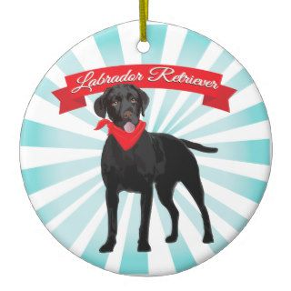 Labrador Retriever with red bandana ornament