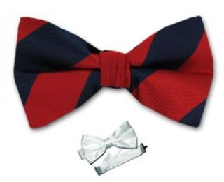 PBTS ADF 419   Crimson Red   Navy   Pre Tied College Striped Bowtie at  Men�s Clothing store