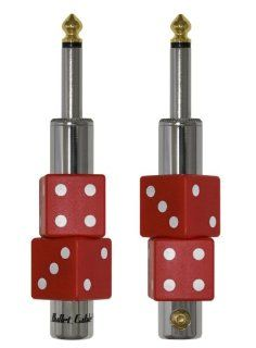 "Bullet Cable DIY Solderless Connectors.  High quality Molded Red Dice Shape. 1/4"" Plug.  2 Piece Set Musical Instruments"