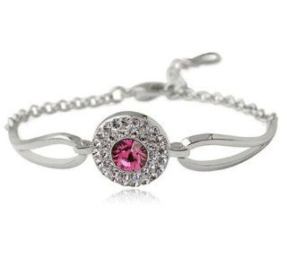 High Quality 18kgp CZ Crystal Lucky Eye (Pink) Known to Ward Off Evil, Arrives in Gift Box Jewelry