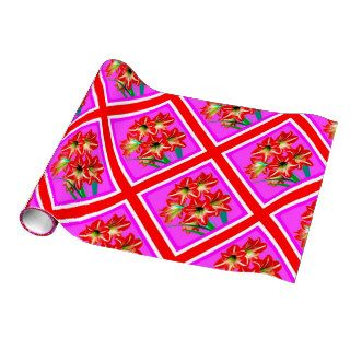 Red Amaryllis Purple Gift Wrap by Sharles