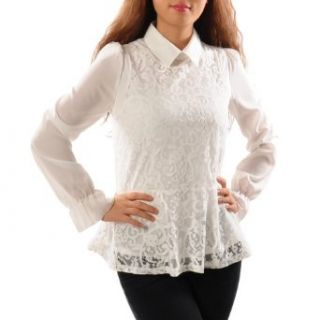 May&Maya Women's Lace Overlay Front Blouse White Size S