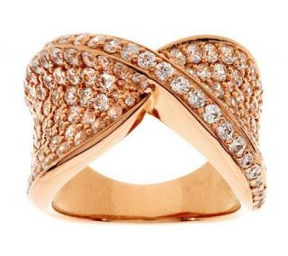 Diamonique Pave Set Criss Cross Ring, 14K Rose Clad —