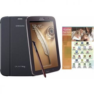 "Samsung Galaxy Note 8"" Quad Core, 16GB Tablet with S Pen, White Book Cover and"