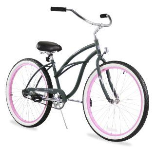 "Beach Cruiser Bicycle Woman 26"" Firmstrong Urban Lady single speed (1sp)   army green w/ pink  Womens Cruiser One Speed Bicycle  Sports & Outdoors"