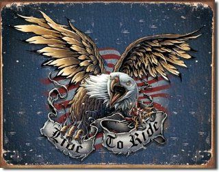 "Live to Ride   Eagle Metal Tin Sign 16""W x 12.5""H   Decorative Plaques"