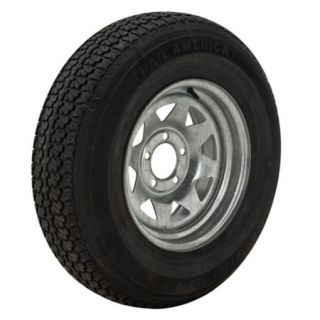 Trail America 5.30 x 12 Bias Trailer Tire 4 Lug Spoke Galvanized Rim 98311
