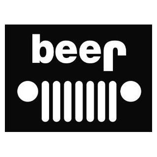 "Jeep Beer Funny Die Cut Vinyl Decal Sticker 6"" White Automotive"