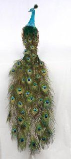 "60"" Life Size Closed Tail Peacock Bird   Artificial Bird with Beautiful Real Peacock Feathers for Display at Weddings, Parties or Window Display"