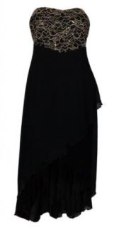 eVogues Plus size High Low Chiffon Dress with Gold Sequin Detail Black   1X