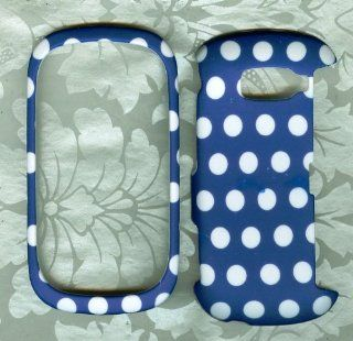 Blue White dot Rubberized case for Lg Octane VN530 Cell Phones & Accessories