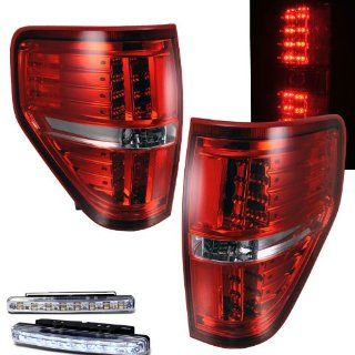 2009 2010 FORD F 150 F150 REAR BRAKE TAIL LIGHTS RED/CLEAR+LED BUMPER RUNNING Automotive