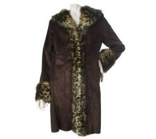 Dennis Basso Faux Shearling Coat with Leopard Printed Faux Fur Trim —