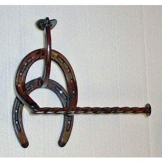 IronCraft Horse Shoe Cowboy Toilet Paper Holder With Rope Design