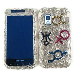 SAMSUNG FASCINATE I500 GENDER SIGNS SILVER BLING CASE ACCESSORY SNAP ON PROTECTOR ACCESSORY Cell Phones & Accessories