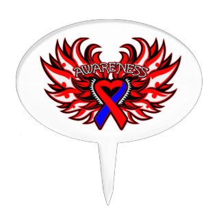 Congenital Heart Disease Awareness Heart Wings Cake Topper