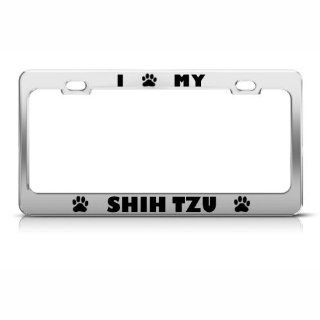 Shih Tzu Dog Dogs Chrome Metal License Plate Frame Tag Holder Automotive