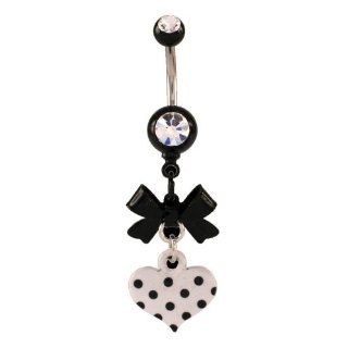 "Stainless Steel   Black Acrylic Bow With Dangling Black & White Heart Belly Ring   14g 3/8"" Length   Sold Individually Jewelry"
