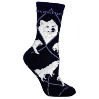 Samoyed Black Cotton Dog Novelty Socks for Adults 9 11 Clothing