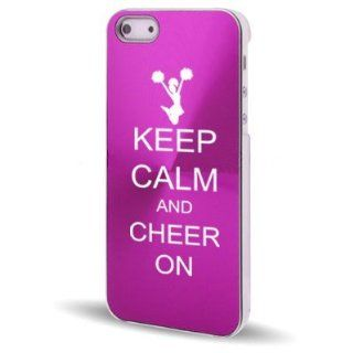 Apple iPhone 5 5S Hot Pink 5C321 Aluminum Plated Hard Back Case Cover Keep Calm and Cheer On Cell Phones & Accessories